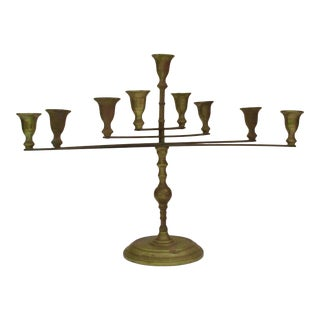 Modern Articulating Brass Menorah Candle Holder