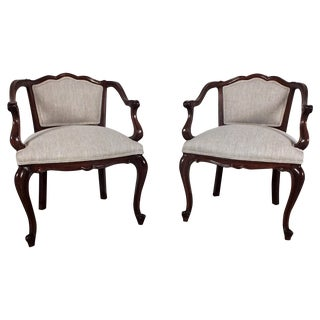 19th C. French Louis XV Style Armchairs - A Pair