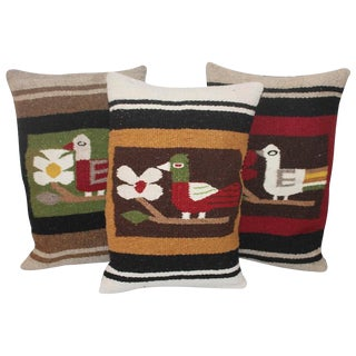 Pictorial Indian Weaving Pillows with Birds