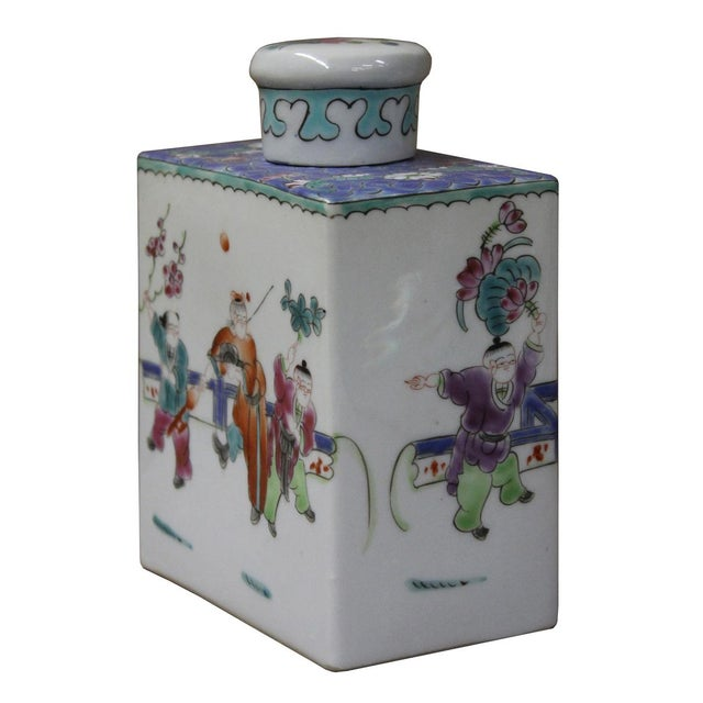 Chinese Colorful Porcelain Tea Jar - Image 4 of 6
