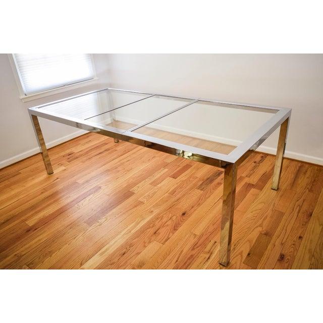 mid century dia milo baughman glass chrome dining table chairish. Black Bedroom Furniture Sets. Home Design Ideas