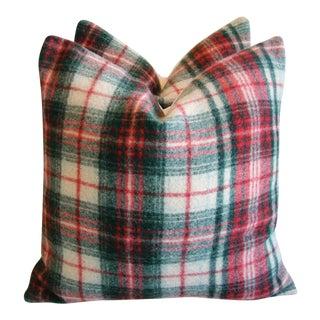 Scottish Plaid Wool & Velvet Down/Feather Pillows - Pair