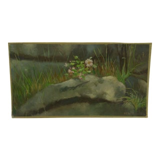 "Original Painting on Board ""Flowering Rock"" by Frederick McDuff Circa 1960"