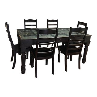 Rustic Carved Wood & Iron Indian Door Dining Table