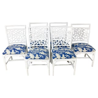 1970's Chinoiserie Rattan Dining Chairs - S/6