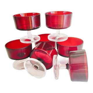 Ruby Red Cocktail Glasses - Set of 7
