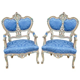 Orante Royal Blue Upholstered Chairs - A Pair