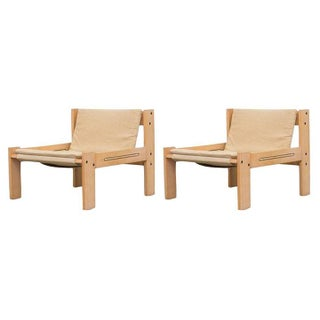 Kembo Canvas Safari Style Lounge Chairs - Pair
