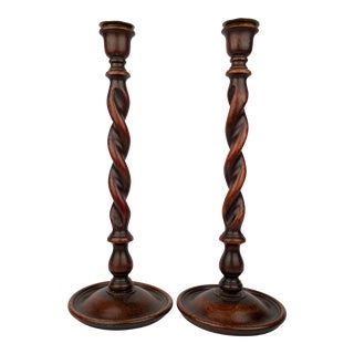 Barley Twist Candlesticks - A Pair