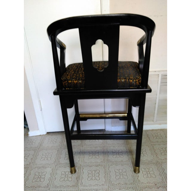 Image of Century Chair Company Hickory Gold & Black Bar Counter Stools - A Pair