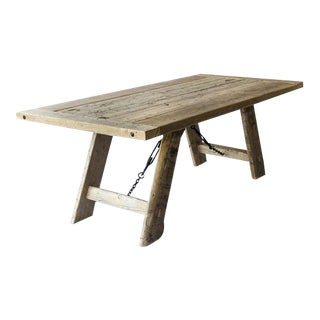 Salvaged Industrial Wood Table with Metal Elements