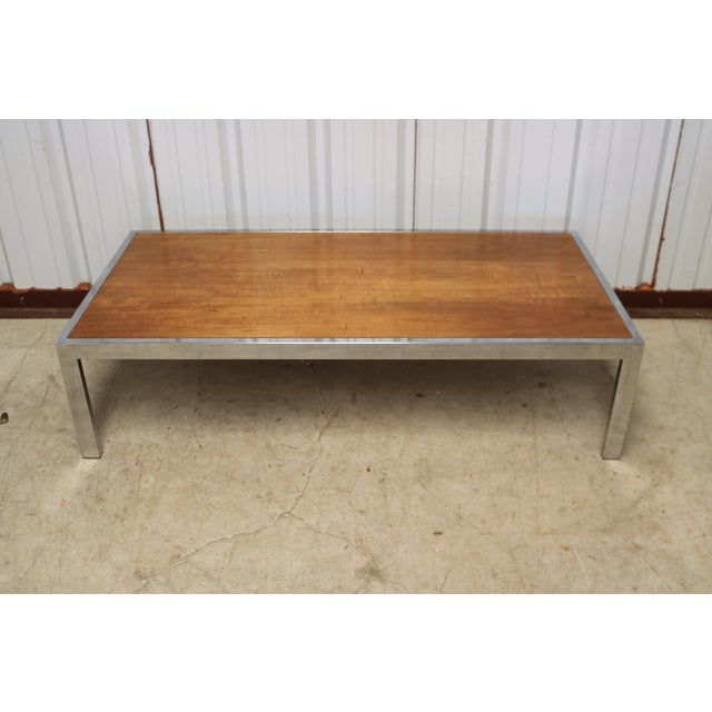 Gorgeous Chrome And Wood Cocktail Table Chairish