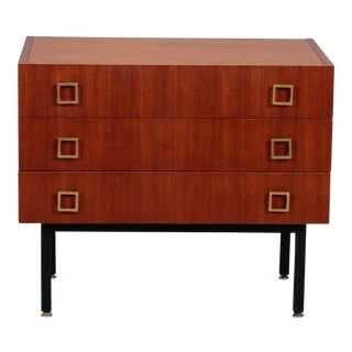 French Mid Century Three Drawer Mahogany Chest