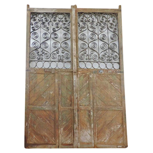 Rustic wood iron gate chairish
