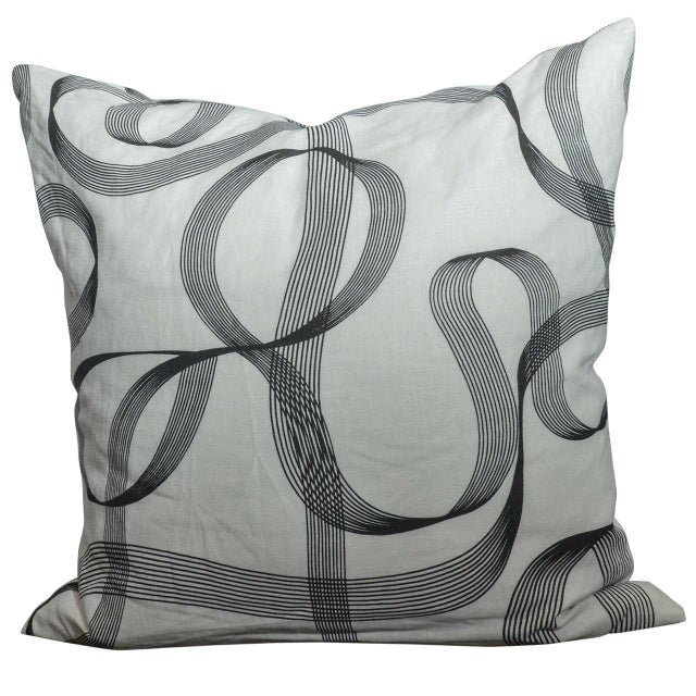 Modern Gray Ribbon Patterned Pillow - Image 1 of 3