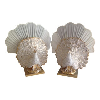 Italian Hollywood Regency Peacock Accent Lamps - S/2