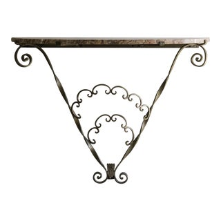 Vintage Gilded Metal Console Table, Marble Top, France c.1940
