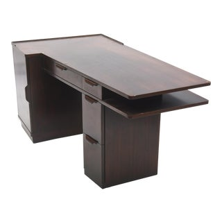 American Modern Dark Walnut Desk, Edward Wormley, Dunbar