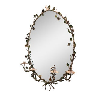 Floral Motif Oval Mirror with Candleholders
