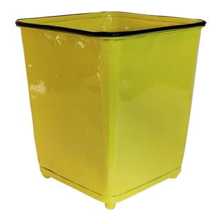 1930s Machine Age Canary Yellow Steel Trash Can