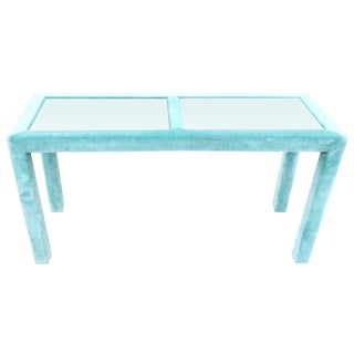 Mid-Century Modern Teal & Glass Sofa Console Table
