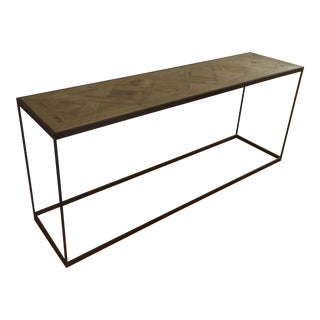 Restoration Hardware Reclaimed Russian Oak Parquet Console Table
