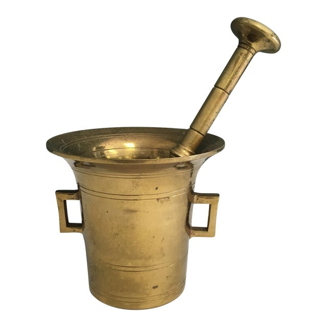 Image of Vintage Brass Mortar And Pestle