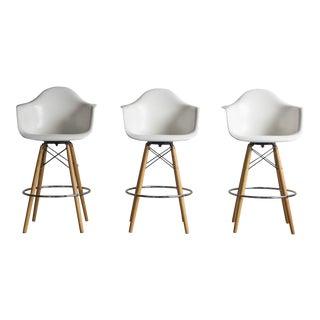 Fiberglass Dowel Base Armshell Barstools by Eames for Modernica -- Set of 3