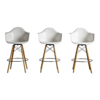 Set of 3 Fiberglass Dowel Base Armshell Barstools by Eames for Modernica