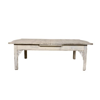 Large White Coffee Table with Extending Leaf