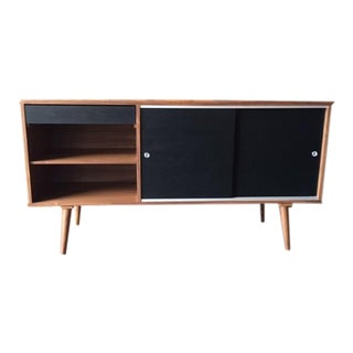 Custom Mid Century Style Walnut Credenza Cabinet