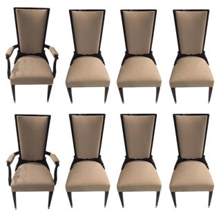 Jules Leleu Style French Art Deco Dining Chairs - Set of 8