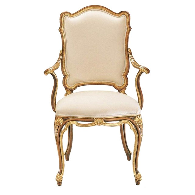 Image of Italian White & Gold Hand Carved Wood Armchair