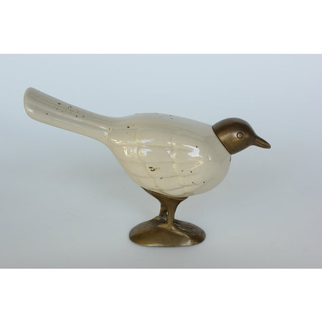 Image of Brass and Ceramic Birds - a Pair