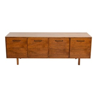 Smart Jens Risom Walnut Long Four Door Credenza