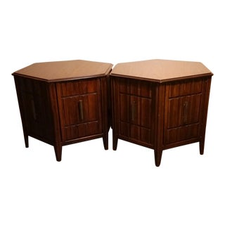 Mid-Century Mersman Brutalist Style Side Tables - A Pair