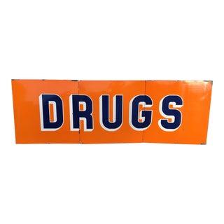 "Vintage Mid-Century Rexall ""Drugs"" Sign"