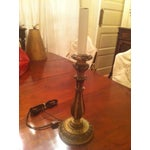 Image of 19th Century Gilt Wood Candlestick Lamp