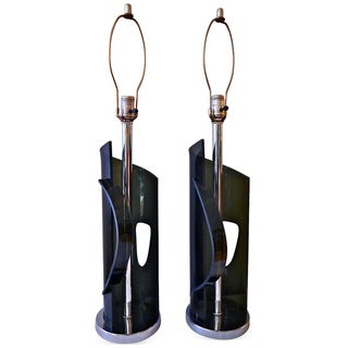 Sculptural Lucite & Chrome Laurel Lamps - A Pair