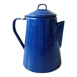 French Country Cobalt Blue Enamel Pitcher