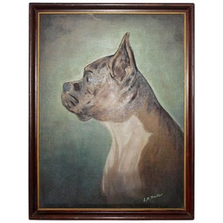 19th Century Signed Bull Dog Oil Painting