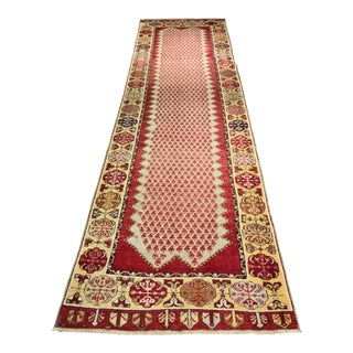 "Uninque PatternVintage Turkish Oushak Runner - 3'6""x12'7"""