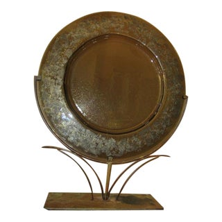 Vintage Brown Stained Glass Charger and Stand