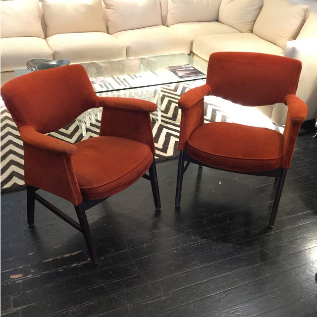 Mid Century Modern Armchairs: Mid-Century Danish Modern Armchairs - A Pair