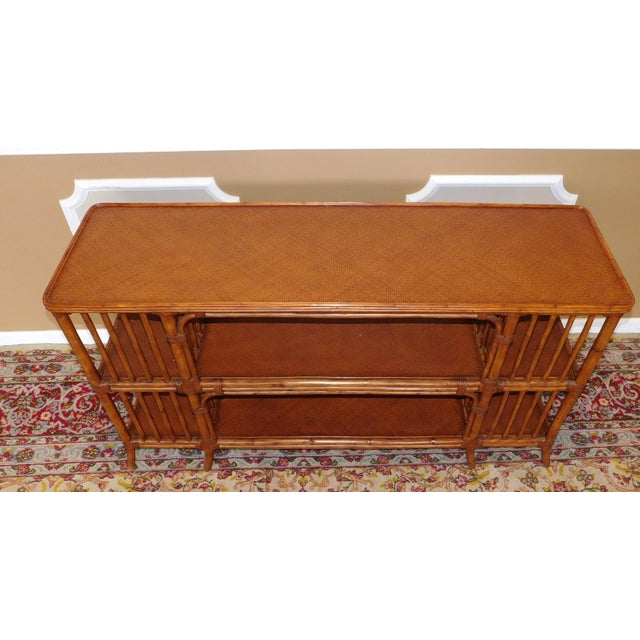 Ethan Allen Rattan Media Console Sofa Table - Image 7 of 9