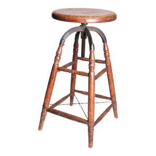Vintage Industrial Wood & Cast Iron Adjustable Counter Stool