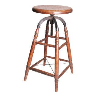 Vintage Industrial Wood & Cast Iron Adjustable Counter Stool
