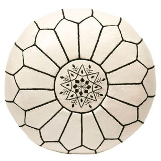 Embroidered Leather Pouf in Black on White (Stuffed)