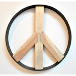 Image of Iron and Wood Peace Sign Wall Art