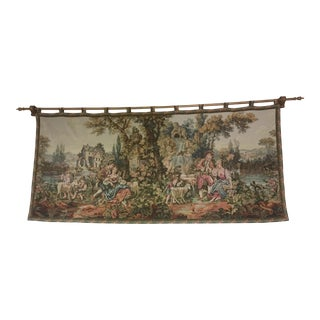 Antique Wall Tapestry With Hanging Rod